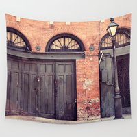doors Wall Tapestries featuring Black Doors by Erin Johnson