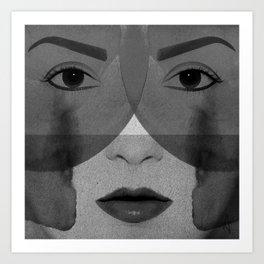 Face Me - Female portrait in black and white Art Print