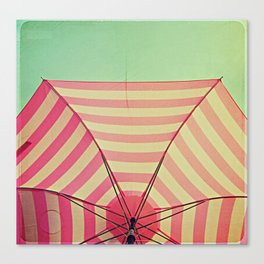 Pink Umbrella Aqua Sky Canvas Print