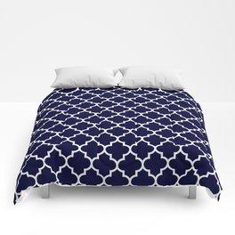 White Moroccan Quatrefoil On Navy Blue Comforters