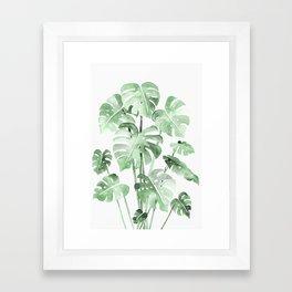 Delicate Monstera Green #society6 Framed Art Print