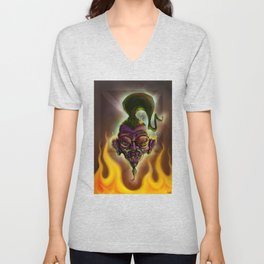 Rebel Shrunken Head Unisex V-Neck