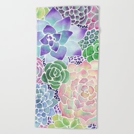 Masked Flora Collection Succulents Beach Towel