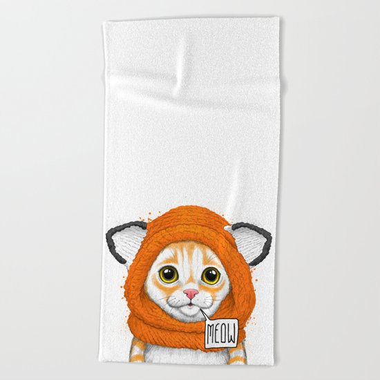 kitten in fox cap Beach Towel