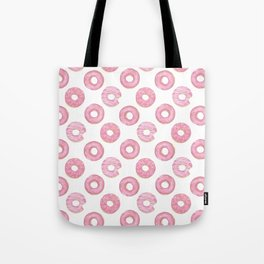 Pink watercolor donut pattern Tote Bag
