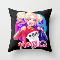 harley Throw Pillows featuring HARLEY by Miaolait