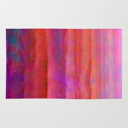 Striped Watercolor Art vibrant Red and Pink Rug