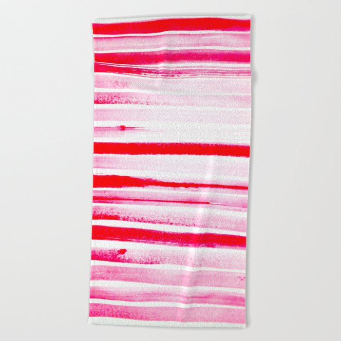 Christmas Candy Cane Red Stripe Beach Towel