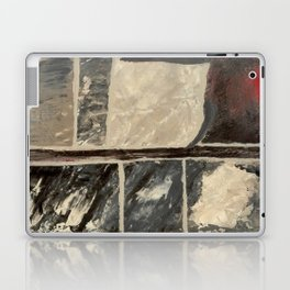 Textured Marble Popular Painterly Abstract Pattern - Black White Gray Red Laptop & iPad Skin
