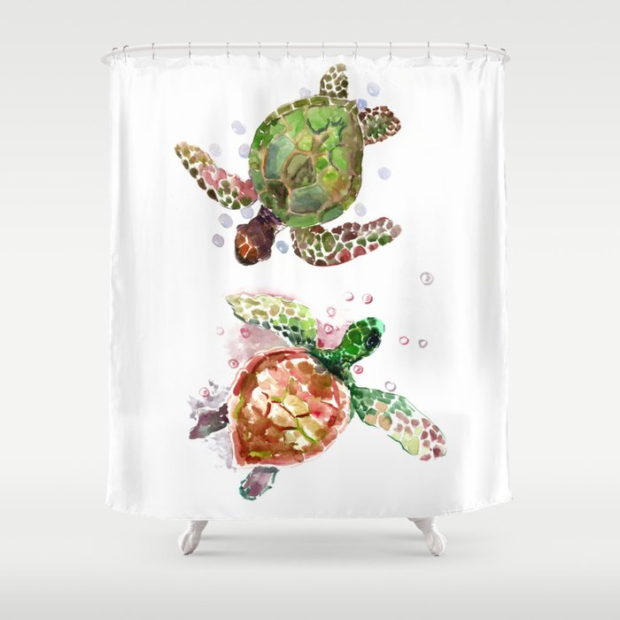 Turtles Olive Green Cherry Colored Sea Turtle Shower Curtain