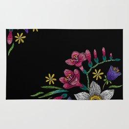Embroidered Flowers on Black Corner 02 Rug