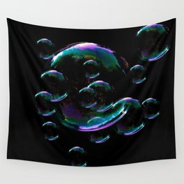 IRIDESCENT SOAP BUBBLES  BLACK COLOR Wall Tapestry