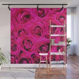 Romantic Pink Purple Roses Pattern Wall Mural