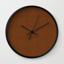 Chocolate Brown Faux Bois Wood Pattern Wall Clock