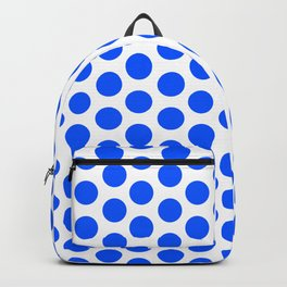 Digital Design with blue round dots on a white background Backpack