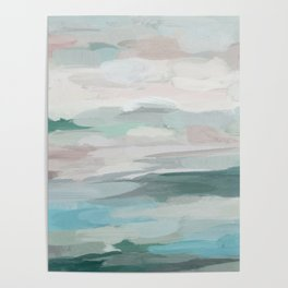 Sage Green Sky Blue Blush Pink Abstract Nature Sky Wall Art, Water Land Painting Print Poster
