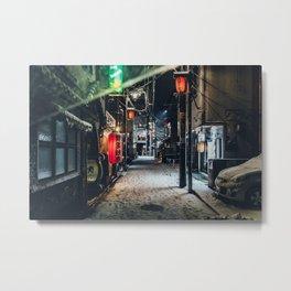 Japan Tokyo alley at Snowy Night Metal Print