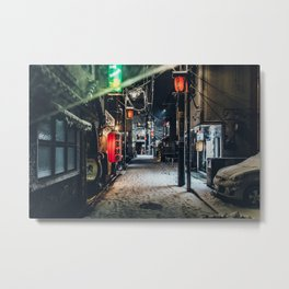 Japan Tokyo alley at Snowy Night Metal Print