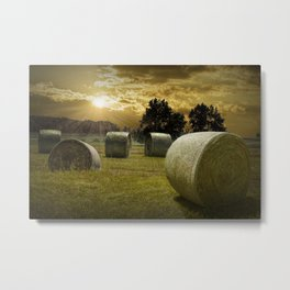 Farm Field with Hay Bales at Sunrise in West Michigan Metal Print