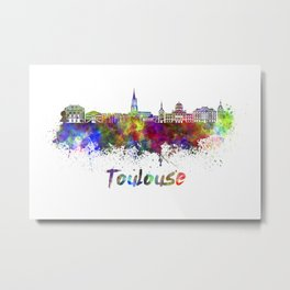 Toulouse skyline in watercolor Metal Print