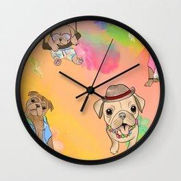 Summer Pugs Wall Clock