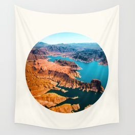 Mid Century Modern Round Circle Photo Burnt Sienna Landscape Meets Blue Turquoise Waters Wall Tapestry