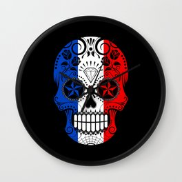 Sugar Skull with Roses and Flag of France Wall Clock