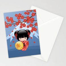 Japanese Red Sakura Kokeshi Doll on Blue Stationery Cards