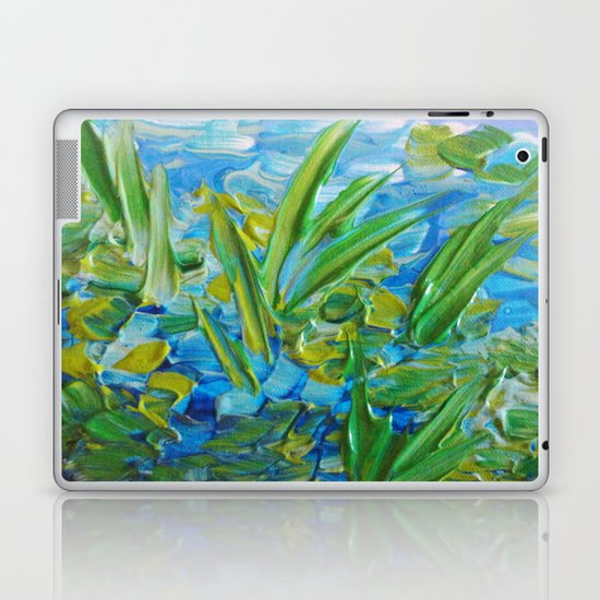 LAKE LOVE - Beautiful Relaxing Turquoise Blue Green Seaweed Chic Decor Gift for Him Acrylic Painting Laptop & iPad Skin