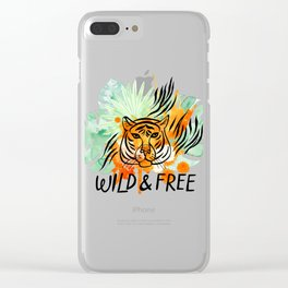 Wild and Free Tiger Clear iPhone Case