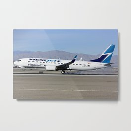 Westjet Boeing 737-800, C-GAWS 100th 737 for Westjet at McCarran Airport Las Vegas Metal Print