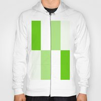 Green and White Gradient Blocks Hoody