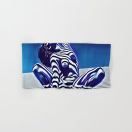 9124s-KMA Powerful Nude Woman Open and Free Striped in Blue Hand & Bath Towel