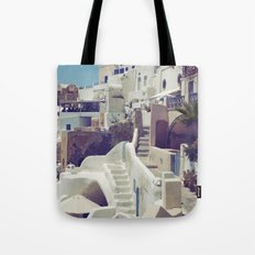 Streets of Santorini III Tote Bag