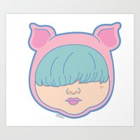 onesie Art Prints featuring Oink Onesie by Hollance