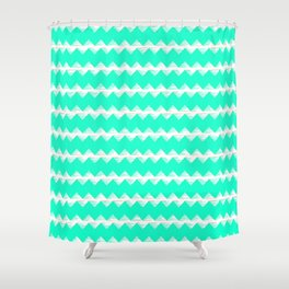 Aqua and White Sawtooth Pattern Shower Curtain