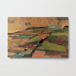 Rolling Plains at Harvest on the tartan hillsides landscape painting by Egon Schiele Metal Print