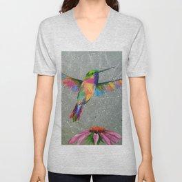 Hummingbird and flower Unisex V-Neck