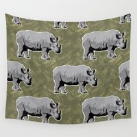 rhino Wall Tapestries featuring Rhino by Skekfaer