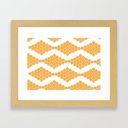 Orange Floral Doily Pattern Framed Art Print