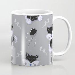 Happy Birthday Black Fox Grey Background Pattern Coffee Mug