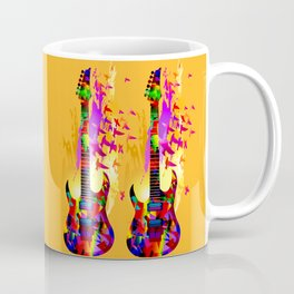 Colorful music instruments painting, abstract acoustic guitar with flying birds. Pop-art, digital. Coffee Mug