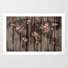 Wood Flowers Mapamundi Art Print