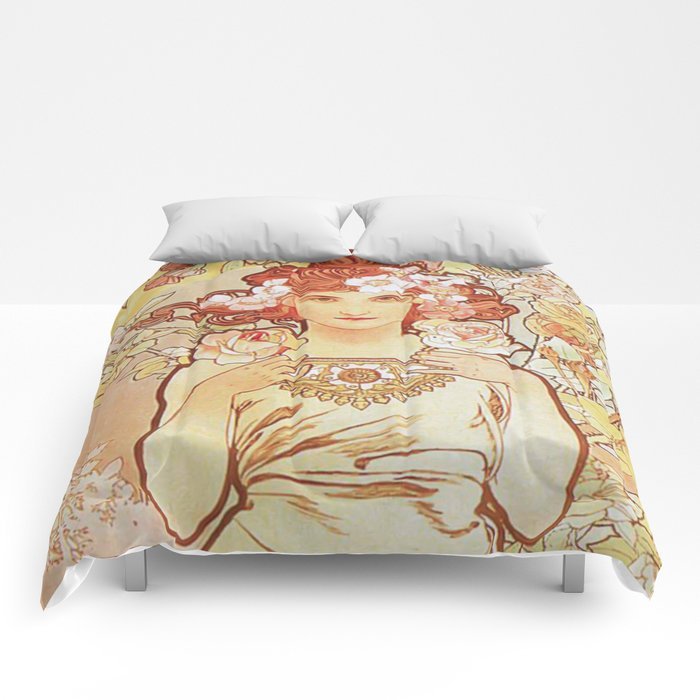 Rose by Alphonse Mucha 1897 // Vintage Girl with Red Hair Floral Love Design Comforters
