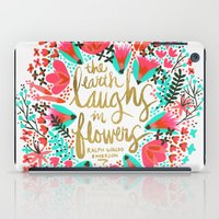 waldo iPad Cases featuring The Earth Laughs in Flowers – Pink & Gold by Cat Coquillette