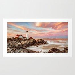 Portland Head Light Coastal Maine Panoramic Art Print