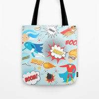 super heroes Tote Bags featuring Super Heroes by Petit Griffin