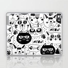 MONOCHROME CAT FACES PATTERN Laptop & iPad Skin
