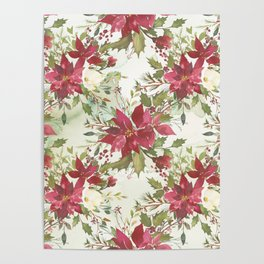 Pink burgundy green watercolor floral holly leaves Poster