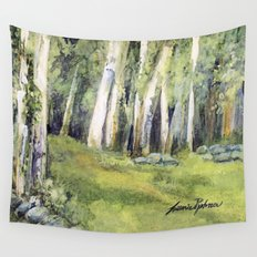 Woodland Landscape Watercolor Painting Spring Fields  Wall Tapestry